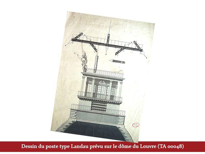 Dessin du poste type Landau prévu sur le dôme du Louvre (TA 00048)