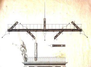 Détail du dessin du poste type Landau prévu sur le dôme du Louvre