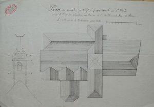 Plan des combles de l'église paroissiale de Saint-Malo