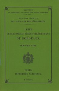 Fac-similé annuaires Bordeaux 1890