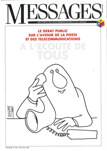 Couverture de la revue Messages choisie pour le colloque sur la réforme des PTT de 1990